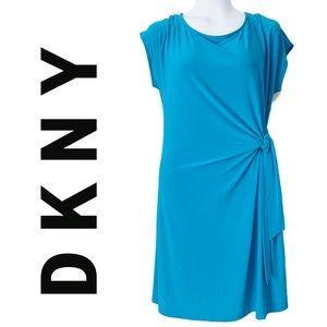 DKNY Bright Blue Side Gathered Tie Dress